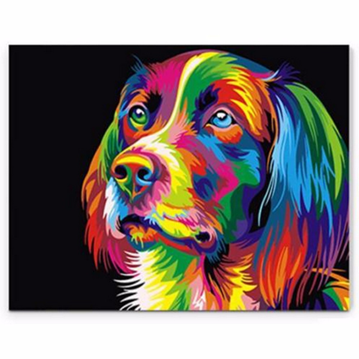 50x40CM ColorFul Puppy Dog Little Animal Pet DIY Self Handcrafted Paint Kit  Home Decor Wood Framed