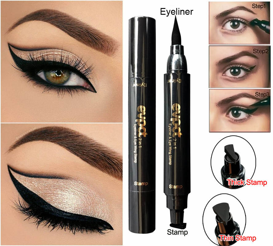 2 in 1 Winged Liquid Eyeliner with Stamp | Quick Drying and Waterproof Makeup | Black