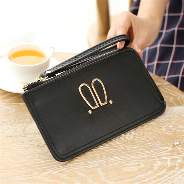 Buy Women Rabbit Ear Clutches Bags Zipper Long Wallet Card Holder 5.5'' Phone Purse For Iphone 7Plus