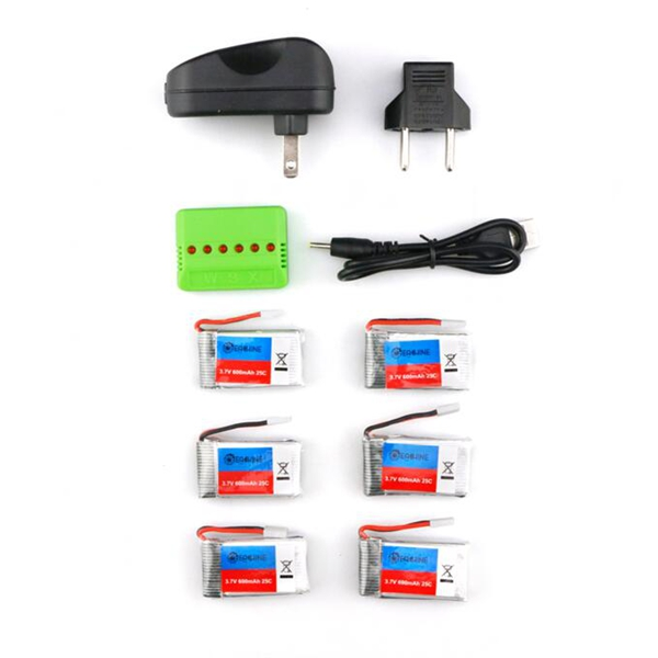 6X Eachine 3.7V 600mah 25C Lipo Battery With Charger for QX90 QX95 QX80 QX100 EX100 EX105 EX110 X73