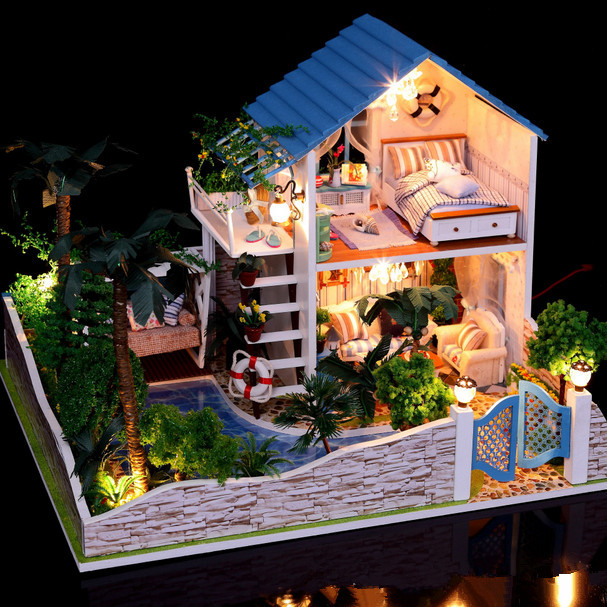 Hoomeda DIY Wood Dollhouse Miniature With LED Furniture