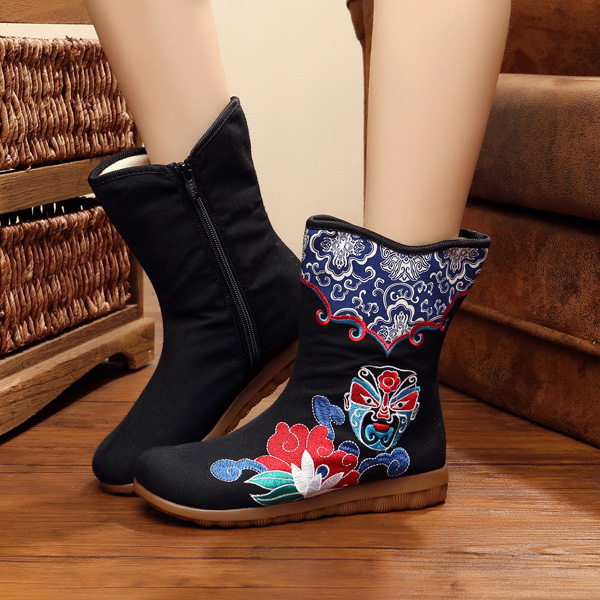 US Size 5-10 Women Canvas Flower National Wind Boot Casual Outdoor Flat Short Boots