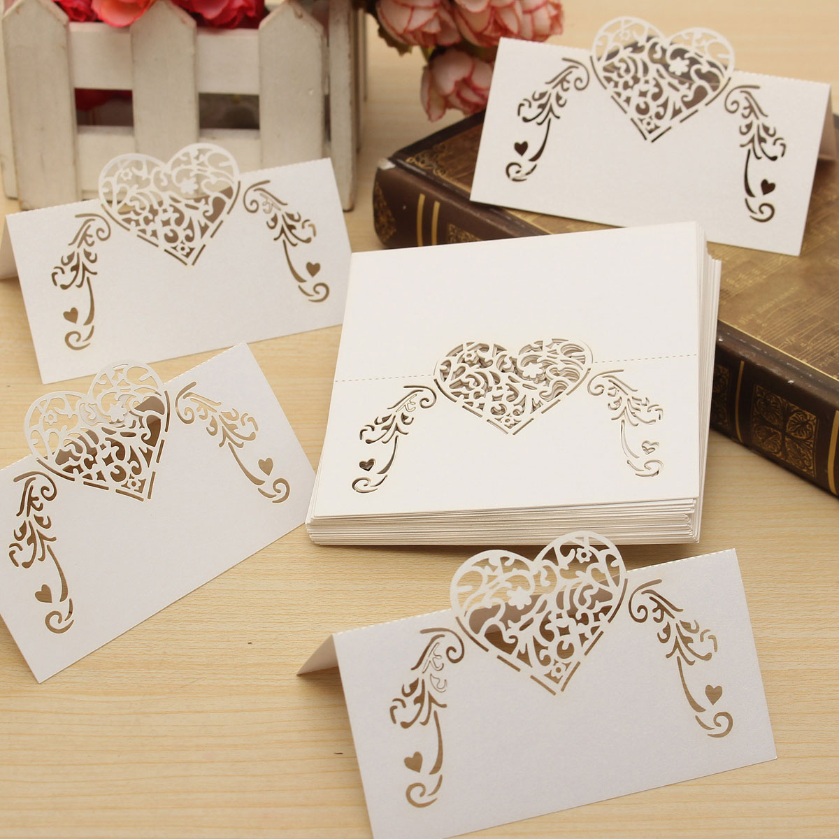 50Pcs Laser Cut Heart Hollow Out Paper Table Place Name Seat Card ...