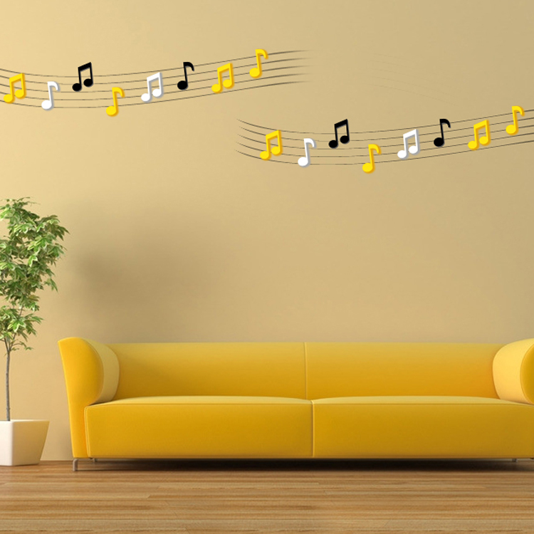 3D Musical Note Wall Decals 2 Pcs 7 Colors Acrylic Home Bedroom ...