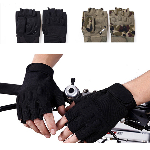 Men Outdoor Tactical Half Finger Gloves Sports Gym Anti Skid Gloves Camouflage Black