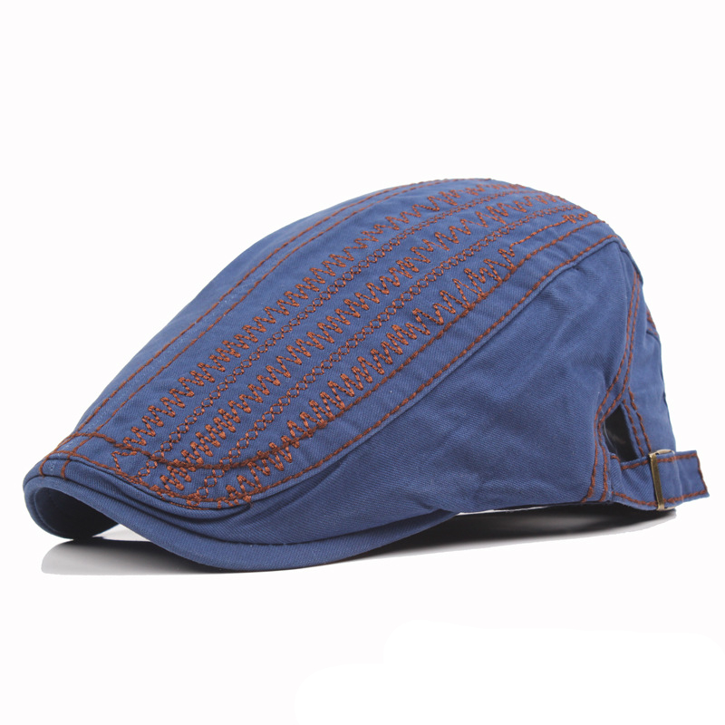Buy Men Women Cotton Beret Cap Solid Color Embroidery Casual Forward Peaked Hats