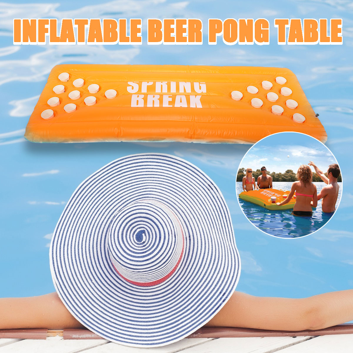 Inflatable beer pong ball table water floating raft lounge pool game 20 cups holder sale rc - Beer pong table triangle dimensions ...