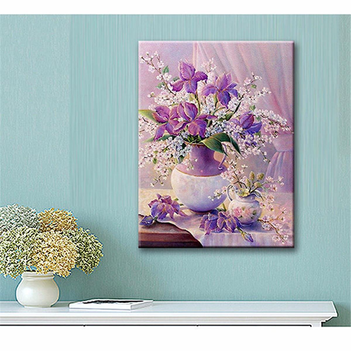 30x40CM 5D Diamond Painting DIY Purple Vase Flowers Cross ...