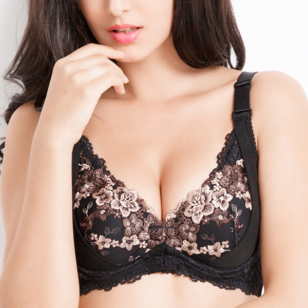 Sexy Lace Embroideried Front Closure Push Up Thin Cup Bras Underwear For Women