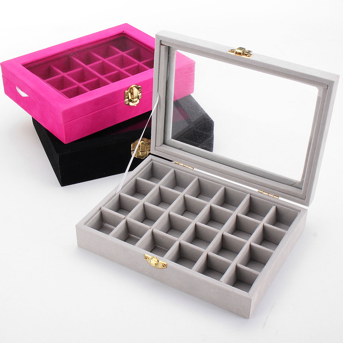 Velvet Glass Carboard Rings Earring Pendant Jewelry Collect Box Showcase