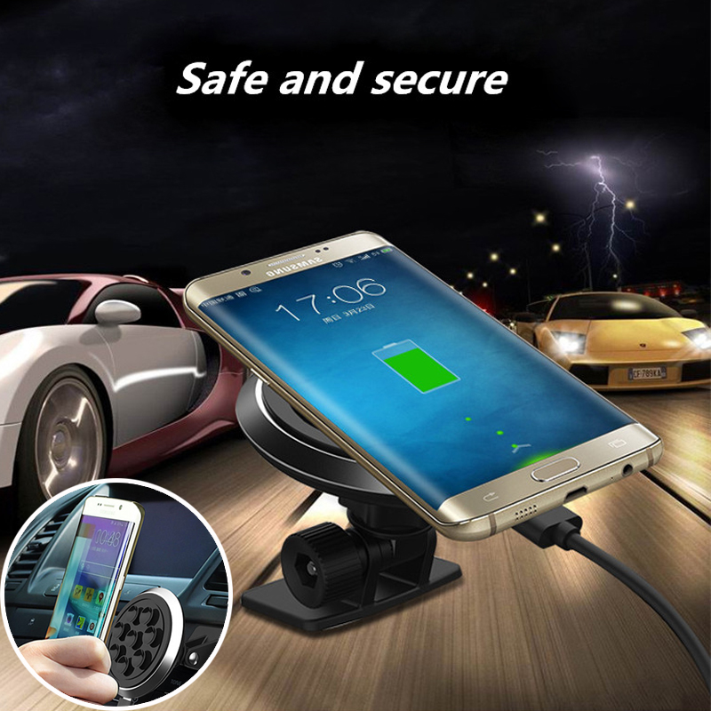 Qi Car Wireless Charger Wireless Standard Vacuum Sucker Suction Pad for iPhone 8 X Samsung 8