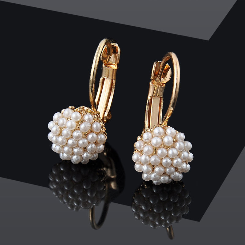 Elegant Round Pearl Beads Gold Plated Ear Stud Earrings ...