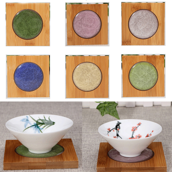 Creative Square Bamboo Coaster Tea Cup Holder Mat Ice-crack Ceramic Coaster Kungfun Tea Acessaries