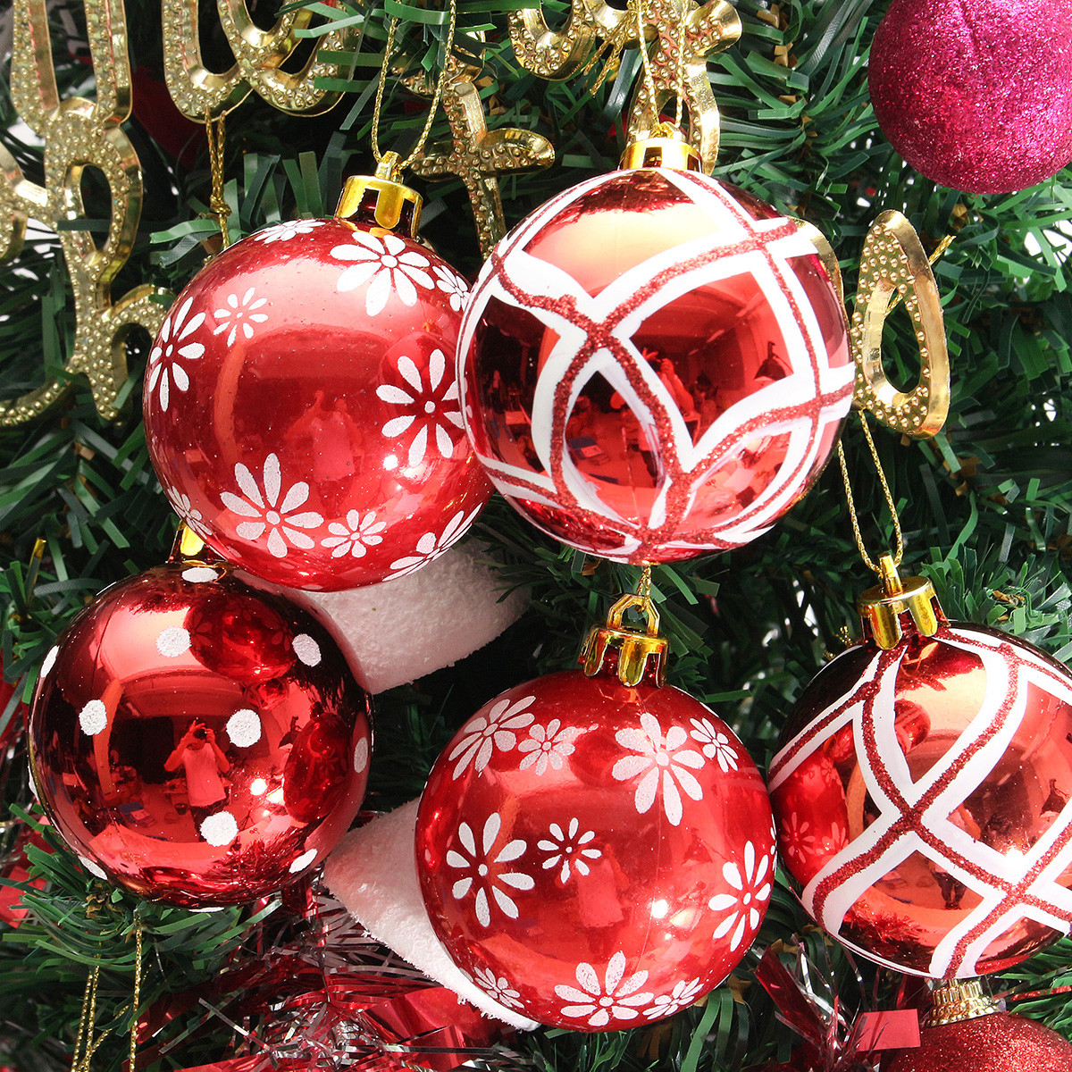 Plastic Christmas Baubles Handmade & Painted Ball Tree Balls Decorations 6/24PCS - Photo: 6