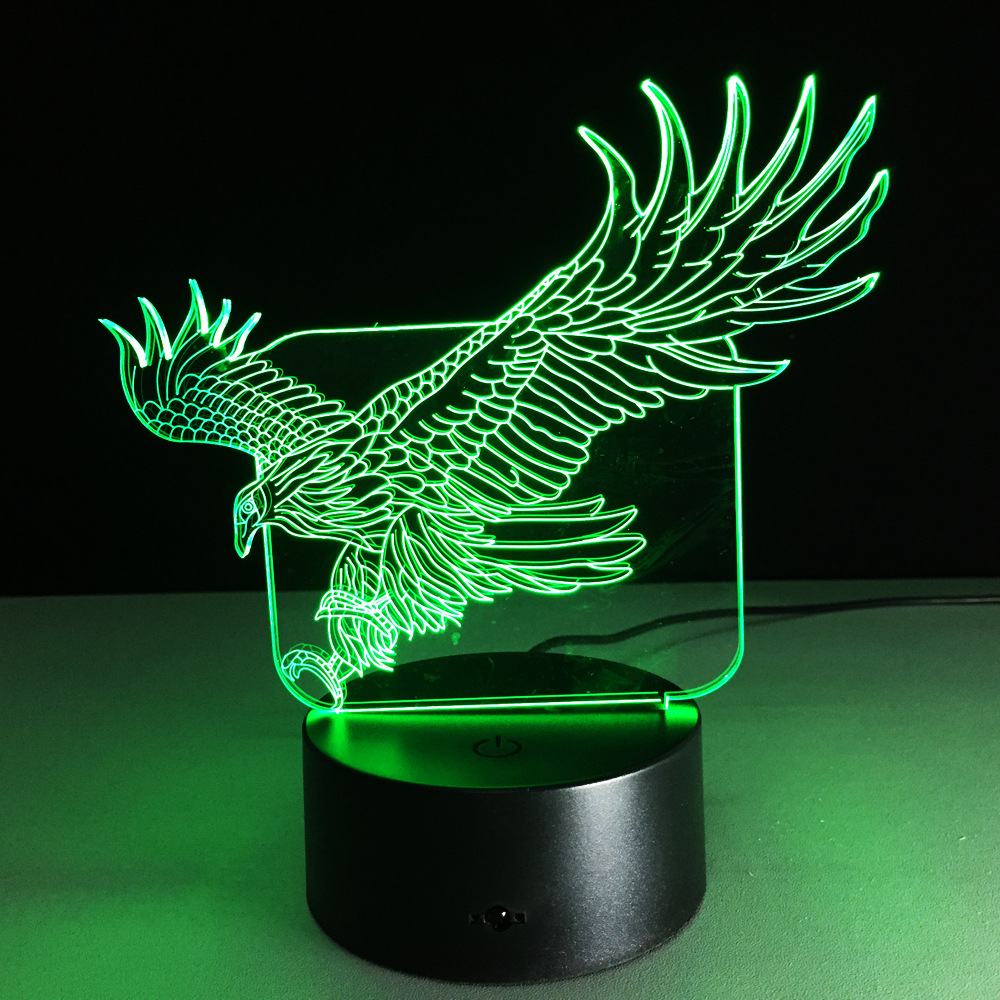 Loskii Dl 3d10 Fly Eagle Usb 3d Led Lights Colorful Touch