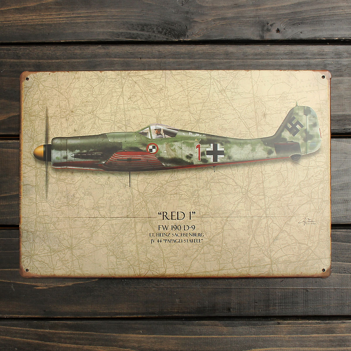 20x30cm World War Vintage Military Battle Plane Sheet Metal Drawing ...