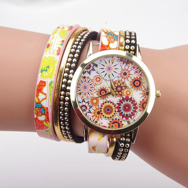 Fashion Folk Custom Style Flower Big Dial Ladies Bracelet Watch Women Quartz Watch