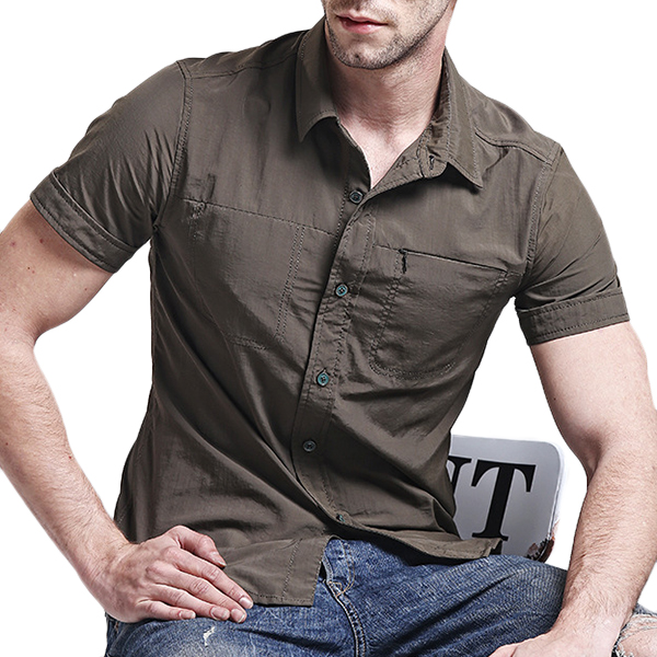 AFSJEEP Military Summer Solid Color Short Sleeve Loose Plus Size Quick Dry Shirts for Men