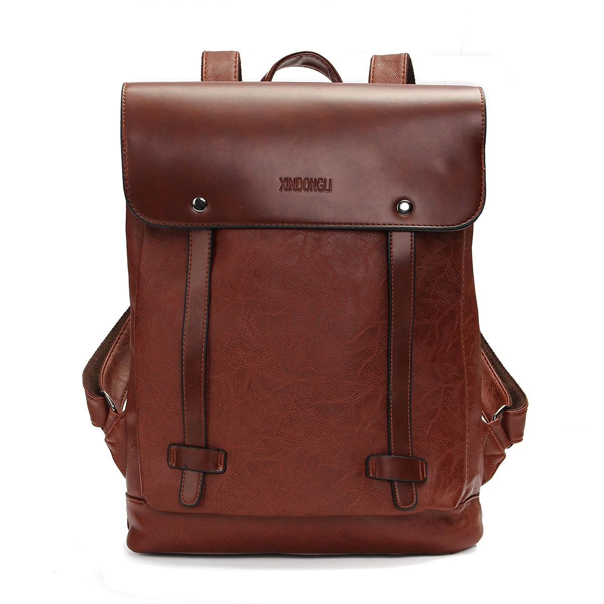 Men Women Vintage Backpack PU Leather Laptop bags Schoo