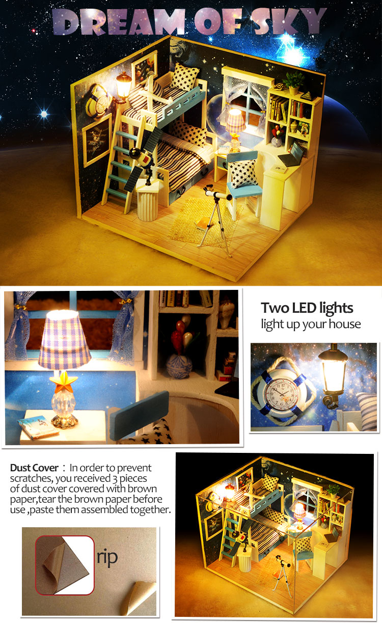 Iiecreate q 005 dream of sky diy dollhouse with furniture for House music collection