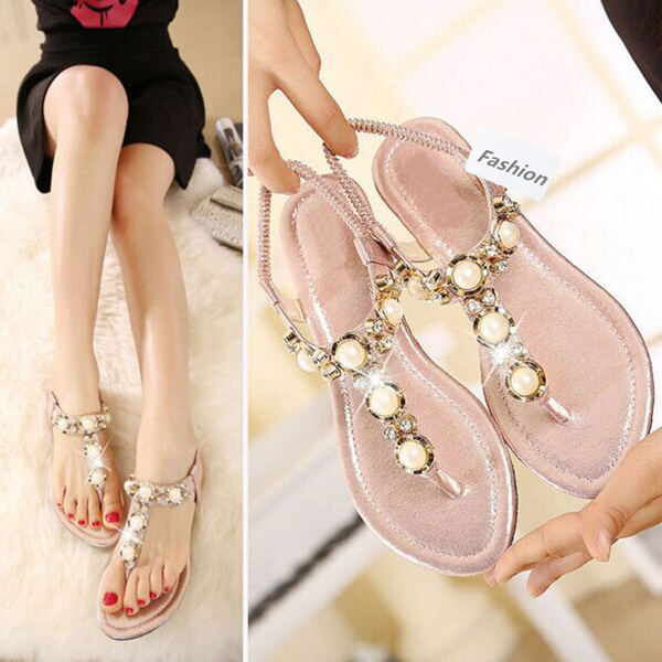 Women Sandal Shoes Flip Flops Strap Flat Strappy Rhinestone Sandals