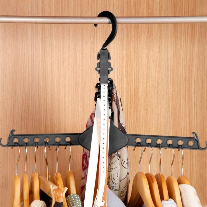 32x19cm Plastic Folding Clothes Hanger Space-saving Clothing Storage Rack Organizer