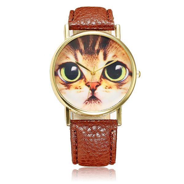 Buy Cute Big Eye Cat Pattern PU Leather Band Analog Quartz Wrist Watch
