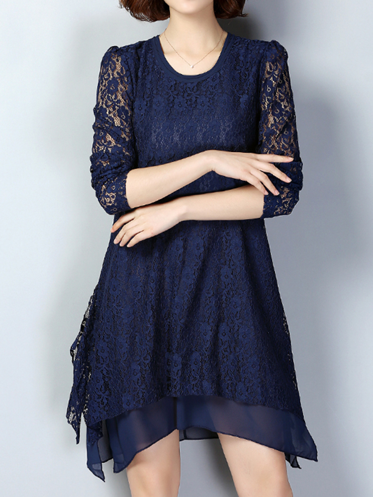 Buy Elegant Long Sleeve Lace Chiffon Double Layers Patchwork Women Dress