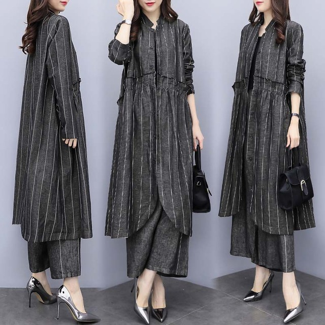 New Large Size Women's Loose Striped Jacket Pants Two Sets Of Casual Fashion Wide Leg Pants Suit Women