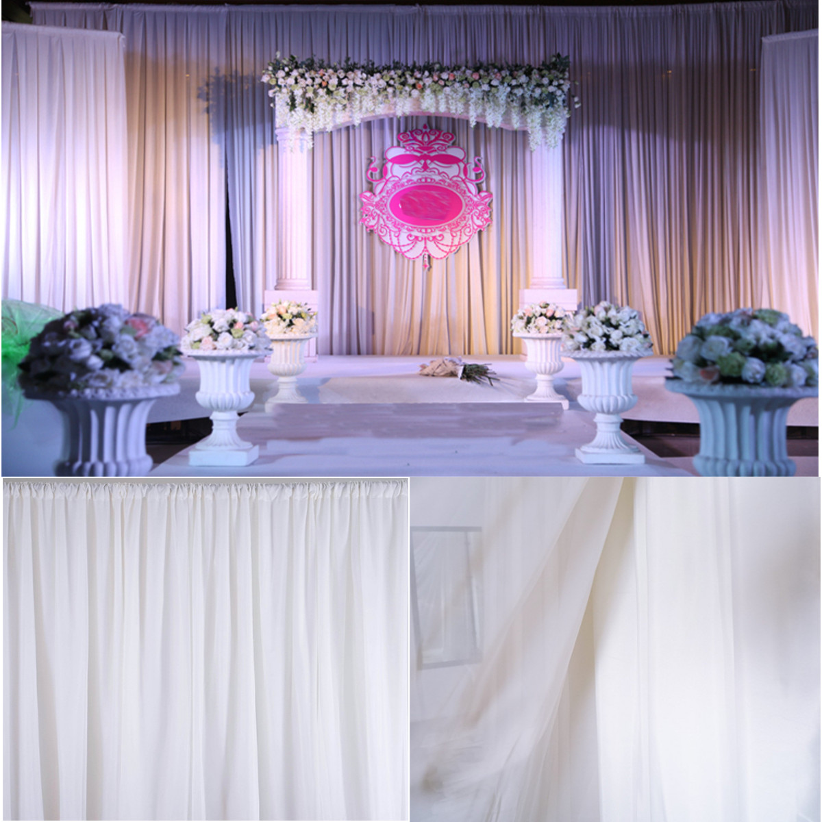 White sheer silk drapes panels hanging curtains backdrop for Home decor parties canada