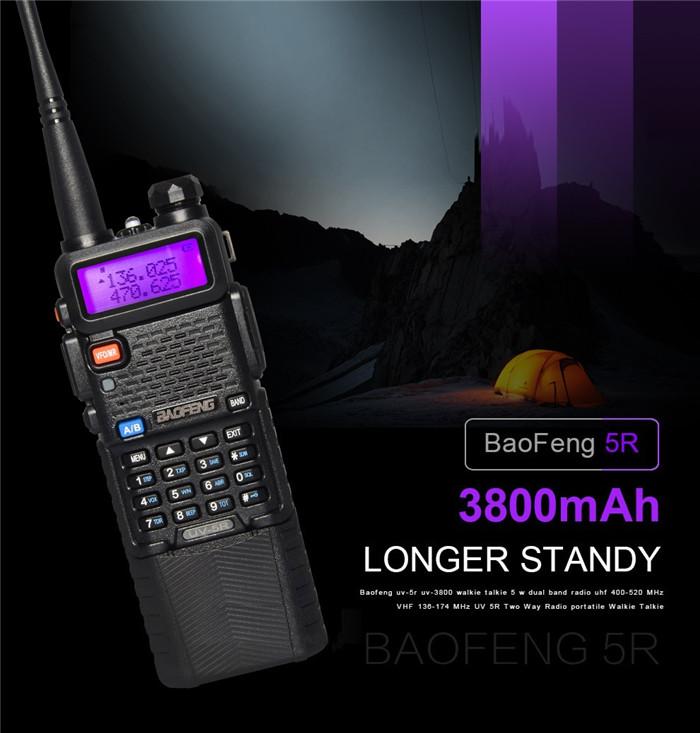 Upgrade BaoFeng UV-5R Walkie Talkie VH/UHF Dual Band Two Way Radio Transceiver 3800mah Battery