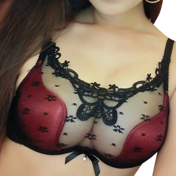 Sexy See Through Lace Push Up Temptation Gather Hollow Out Bra Sets