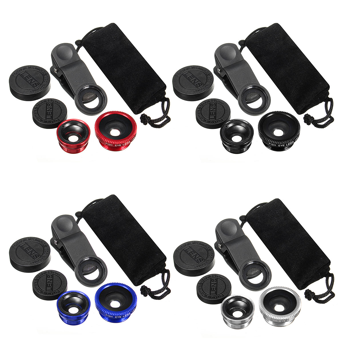 Universal 3in1 Clip On Camera Lens Kit Wide Angle Fishe
