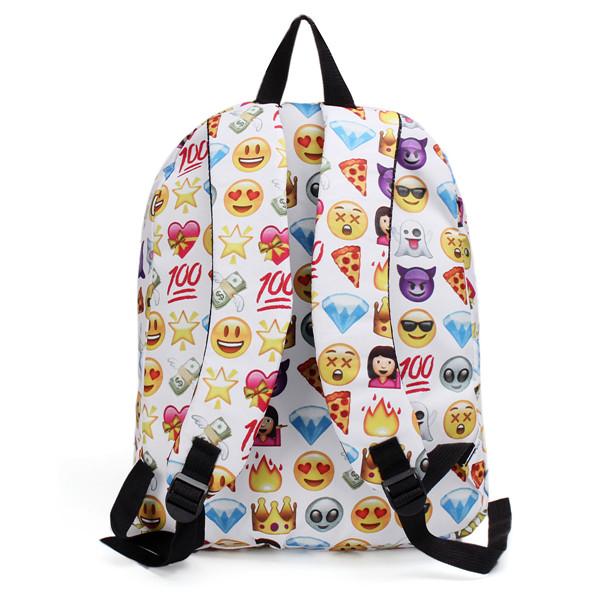 Women Canvas Emoji Backpack Girls Cute Rucksack Students School Book Bags