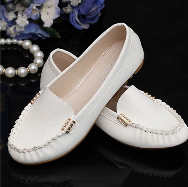Buy Women Artificial Leather Solid Slip On Moccasins Flats Loafer Shoes Soft Sole
