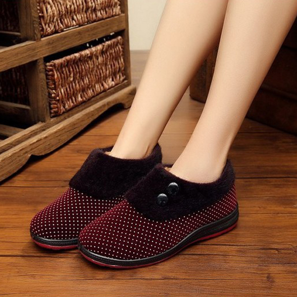 Pure Color Dot Slip On Round Toe Casual Snow Boots For Women