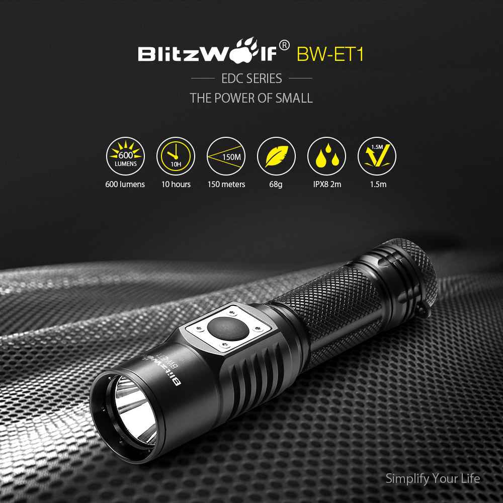 BlitzWolf® BW-ET1 XP-L V6 600LM Stepless Dimming Mini EDC LED Flashlight 14500/AA with Body Tube