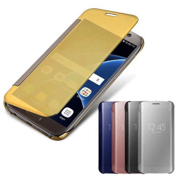 Electroplating Acrylic Mirror Smart Sleep Flip Case For Samsung S7 Edge