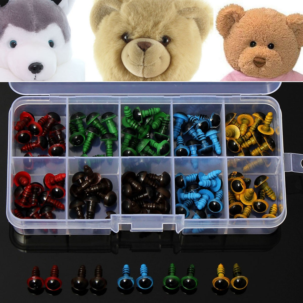 Buy 108mm 5 Colors Washers Plastic Safety Eyes Teddy Bear Doll Puppets Toys Handmade Craft DIY Tool
