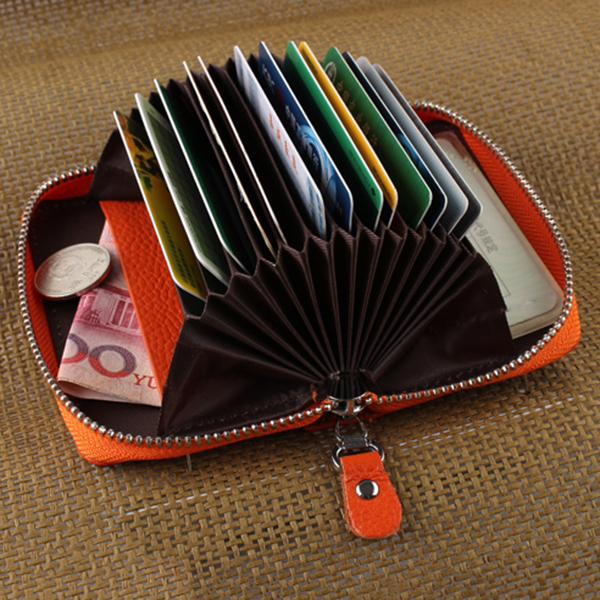 Buy Genuine Leather Zipper 19 Card Holder Women Portable Short Purse Coin Bags