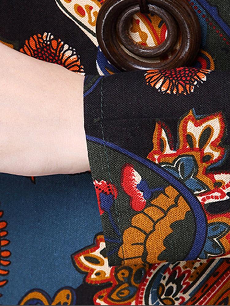 Vintage Women Printed Patchwork Cotton Linen Maxi Dress
