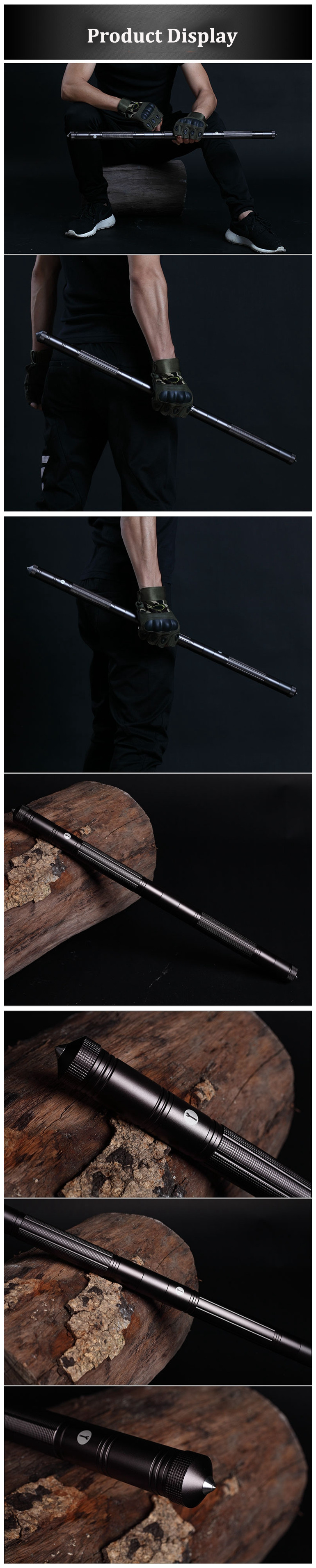 IPRee Outdoor Camping DIY Self Defense Stick Safety Multi-Functional Defensive Protection Rod Survival Tool