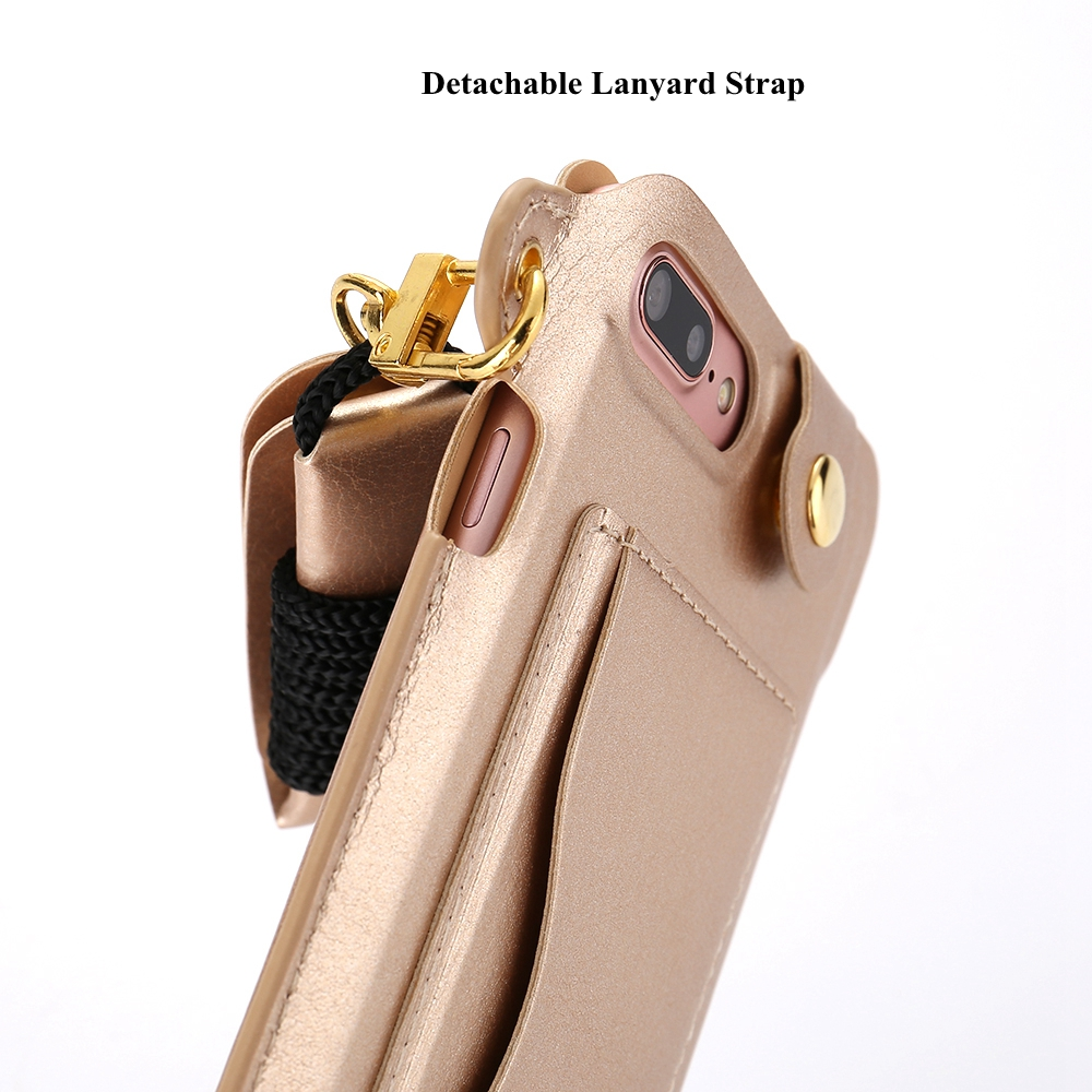 iphone lanyard case pu leather shockproof back cover with card slot 11979