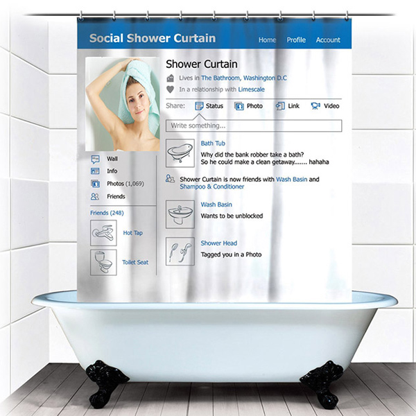 180x180cm Funny Social Facebook Shower Curtain Bathroom Waterproof Fabric With 12 Hooks