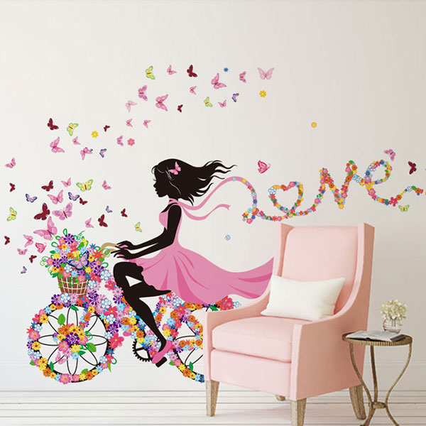 DIY Wall Sticker Kids Room Decoration Butterfly Princess Bike Girl Art Decal Home Mural