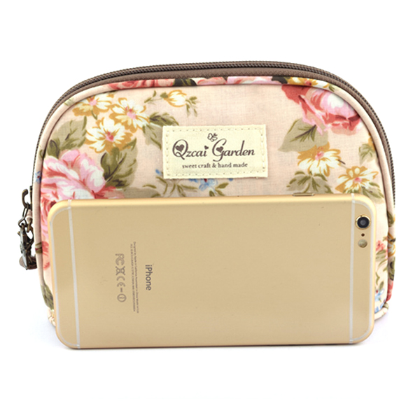 Women Floral Zipper Cosmetic Bags Girls Rural Clutches Bags Card Holder Coin Bags 5.5'' Phone Bags
