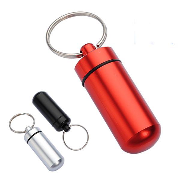 Buy Aluminum Pill Box Case Bottle Holder Container Keychain