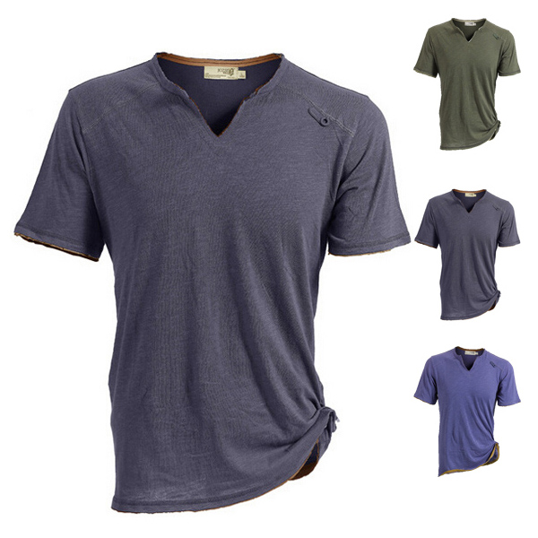 Buy JOZSI Mens Light Thin Outdoor Cotton Tees Sport V-neck Tops Quick-dry Short Sleeve T-shirt