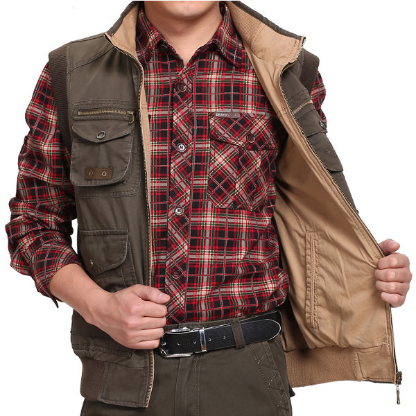 Jeep Rich Autumn Winter Double Side Outdoor Vest Casual Multi-pocket Fishing Waistcoat Plus Size