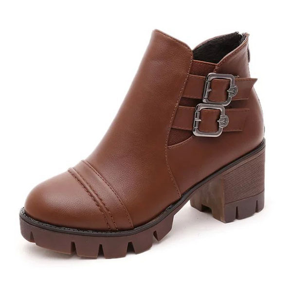 New Women High Heel Casual FashionBoots Slip-On PU Elastic Ankle Short Boots